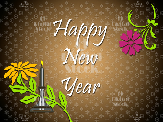 Happy New Year Greetings With Flowers Idigitalstock Royalty Free