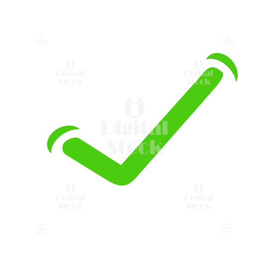 Tick mark in green color on white background